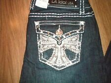 LA IDOL PLUS Pattee Rhinestone Studded Cross Dark Blue Bootcut Denim Jeans