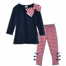 Baby girls Lovely Striped Bow Long Sleeve Top+Pants 2 Piece Set Autumn 3-8t