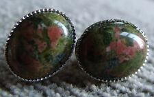 STERLING SILVER, SILVER OR GOLD PLATED UNAKITE EARRINGS EARSTUD 10mm x 8mm