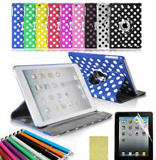 360 Rotating For Apple iPad 2/3/4 Polka Dot Smart Cover Pu Leather Case Stand