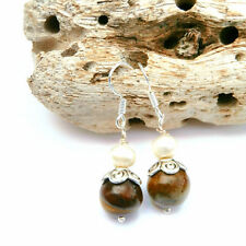 10MM TIGER'S EYE GEMSTONE BEAD AND FRESHWATER PEARL DANGLE EARRINGS SILVER /GOLD