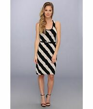 Calvin Klein Dress Womens Striped Scoop Neck Sleeveless Straight Hemline & Belt