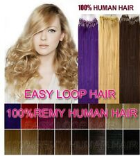 """20"""" Remy Human Hair Extensions Easy Loop Micro Rings Beads Tipped 100S All Color"""