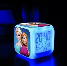 Disney Frozen Princess 7 Colour LED Alarm Date Clock Calender Birthday Xmas Gift