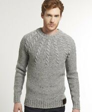 New Mens Superdry Propeller Knit Jumper Grey Nep VH
