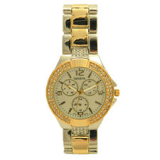 Geneva Stainless Steel Double Row Crystal Bezel Chrono Style Housewives Watch