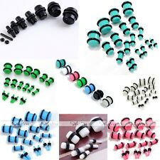 Pair Acrylic Plugs Double Flare O-Ring Ear Gauges Stretching Punk NEW Pick Color