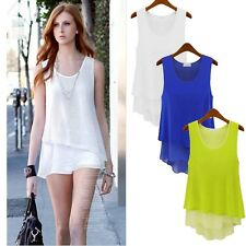 HOT New Fashion Ladies Women Double Chiffon Sleeveless Bouse Casual Vest T-shirt