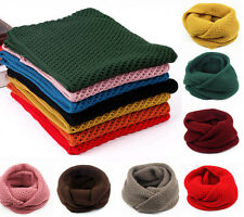 New Men Women Warm Winte Infinity 2 Circle Cable Knit Cowl Neck Long Scarf Shawl