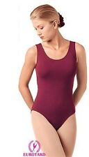 Eurotard 1002 tank dance leotard front lined scoop neck cotton lycra women new