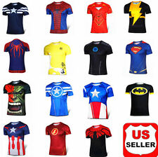Superhero Costume Tee Spiderman Captain America Iron Man T-Shirt Cycling Jersey
