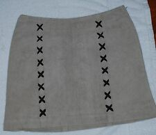 ANNA GABELLI  WOMENS  CAMEL/BROWN SUEDE/LEATHER MINI SKIRT
