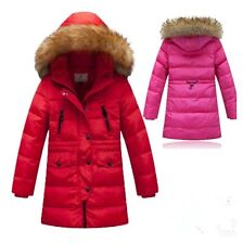 2014 80% white duck down big girl winter coat fur cap thickened down jacket