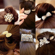 Girls Sweet White Pearl Crystal Rhinestone Flower Ponytail Holder Hair Rope Band