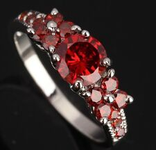 Fashion Jewelry Garnet Gemstones Silver ELEGANT Rings US#Size5 6 7 8 9 T0625