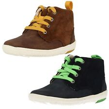INFANT BOYS CLARKS LEATHER LACE UP ZIP TRENDY CASUAL ANKLE BOOTS MAXI HEHE
