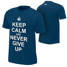 John Cena KEEP CALM AND NEVER GIVE UP Blue WWE Authentic T-Shirt
