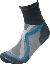 LORPEN Tri-Layer Light Trail Running Socks Anthracite / Blue Size: S  XTR 2-Pack