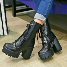 Womens High Chunky Heel Lace Up Motor Knight Biker Vintage Punk Ankle Boots