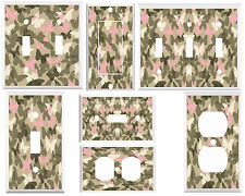 Light switch Outlet Cover Wall plate - Khaki and Pink butterfly Camo