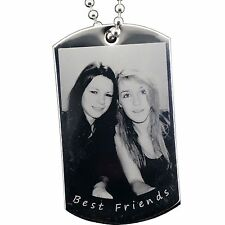 Personalised PHOTO Engraved Steel Army ID Dog Tag - FREE BALL CHAIN & GIFT BOX