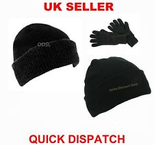 MENS WOMENS THINSULATE LINED INSULATED WINTER SKI BEANIE WOOLY CAP RIBBED KNIT