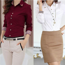 Women's Shirts Long Sleeve Turn-down Collar Button OL Career Blouse Office Tops