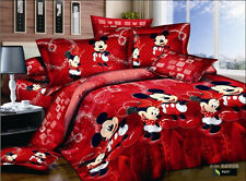 red black Mickey Mouse Cotton king queen Size Duvet quilt Cover bed Set sheet 4p