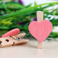 50Pcs 30mm Wooden Mini Heart Shaped Clip Wood Pegs Kid Crafts Party Favor Supply