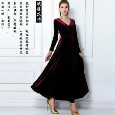 J325 women retro deep V collar flounce bottom velvet long-sleeves dress Gothic