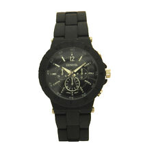 Geneva Silicone Plated Metal Inner Outer Case Meter Designs Casual Unisex Watch