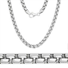 3mm 14k White Gold 925 Sterling Silver Round Box Link Men Italian Chain Necklace