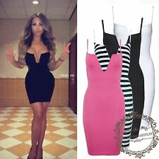 UK Womens Clubbing Structured V Bralet Bodycon Couture Short Low Cut Dress