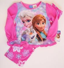 Disney Frozen Pajamas 2 Piece Set Lovely Soft Cozy Pink Fleece Flame Resistant