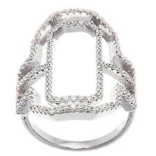 14K WHITE GOLD VERMEIL Pave Open Clear CZ Hexagon Square Knuckle Band Ring-925