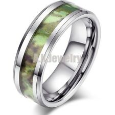 Tungsten Military Green Army Camo Ring Comfort Fit Band Ring 8mm Size 8-13