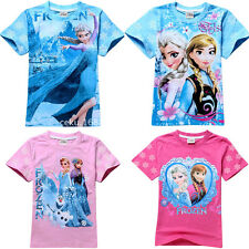 Sweet Frozen Elsa&Anna Princess Kids Girls Short Sleeve Tops Baby T-Shirt 2-8Y