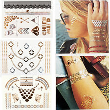 Jewelry Inspired Metallic Gold & Silver Temporary Tattoos Body Makeup Stickers