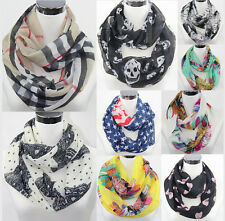 Women Floral Print Light Weight Infinity Wrap Cowl Scarf Loop Circle Scarves