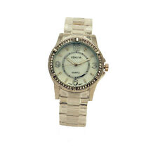 Geneva Stainless Steel Case Back Crystal Adorned Rim Ballroom Women Dress Watch