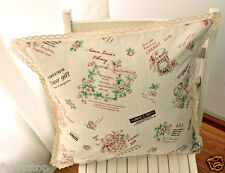 Double sided cotton & Linen lace patchwork print Sofa cushion case/pillow cover