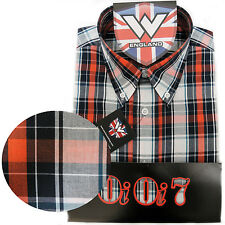 Warrior OiOi7 Short Sleeve Button Down Shirt DRAX Mod Skinhead Orange White Grey