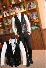 Sequin Vest-Men Costume For Circus Clowns&Fun Fairs Fancy Dress Up,Silver/Black#