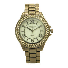 Crystals All Over Bezel Roman Number Stainless Steel Pretty Fashion Women Watch