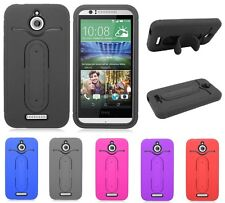 CARD HOLDER HYBRID RUBBER STAND SKIN + HARD CASE FOR HTC Desire 510 cell phone