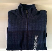 MENS CALVIN KLEIN SWEATER, COLOR BLOCK Full Zip with Pockets, Lifestyle XL, BLUE