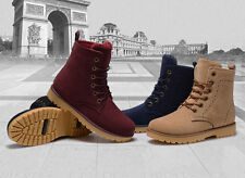 New suede leather Men and Women boots winter shoes lace-up flats casual martin