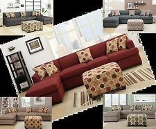 Modern Contemporary sectionals Bobkona sofa furniture couch 2 Pc Living room set