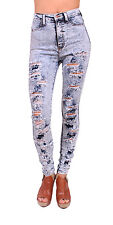 Vibrant Jeans Women High Waisted Distressed Acid Wash Skinny Jeans - P287