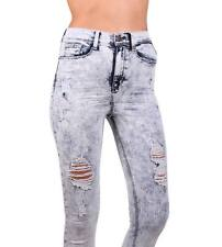 Sneak Peek Women Acid Wash High Rise Distressed Skinny Jeans SPP8880